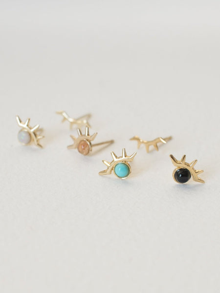 merewif earrings wink studs black onyx gold plate