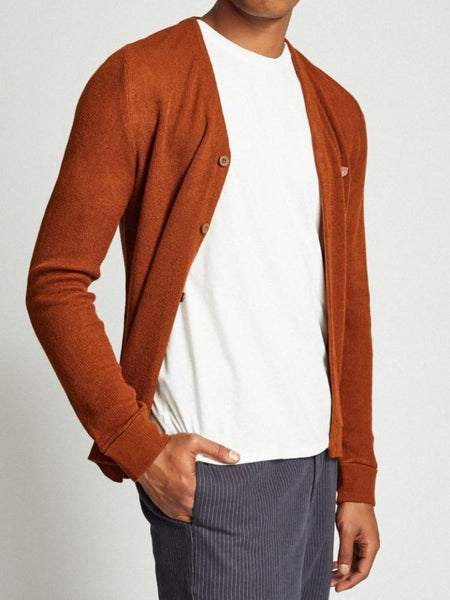 brixton miles cardigan rust dark rust men sweater top red b shield collection