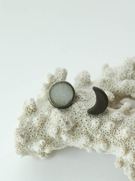 Moon Duo Stud Earrings