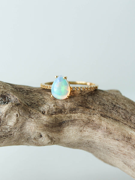 Opal + Topaz Angels Teardrop  Ring