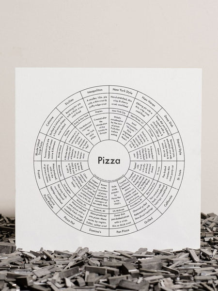 Pizza Letterpress Print 8x8