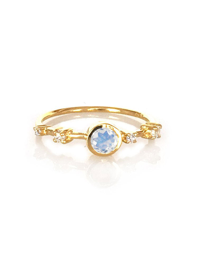 Rainbow Moonstone & Diamond Constellation Ring