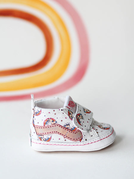 sk8 hi crib unicorn rainbow pink cute baby shoes, unique vans, baby vans, baby shoes, infant vans, cool baby shoes, cool baby gifts, unique baby gifts