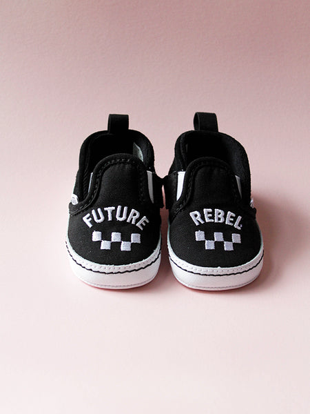 unique vans, slip on v crib future rebel baby shoes, baby vans, baby shoes, infant vans, cool baby shoes, cool baby gifts, unique baby gifts