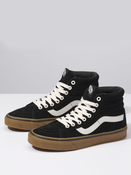 unique vans womens shoes black suede embossed gum leather hightop