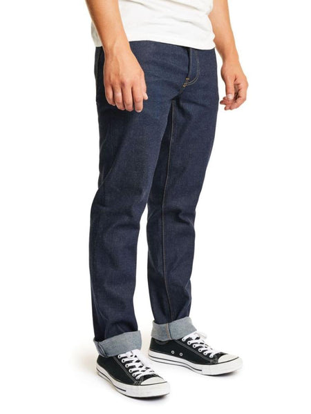 brixton reserve 5 pocket denim raw indigo men's jeans