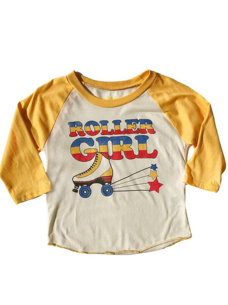 Roller Girl Kids Tee: Yellow Mellow