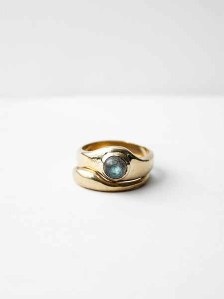 Emmeline Ring Set: Brass, Labradorite