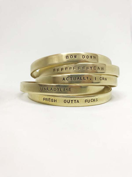 custom jewelry hand-stamped cuff bracelet brass rachael ray magazine everyday every day lyrics personalized