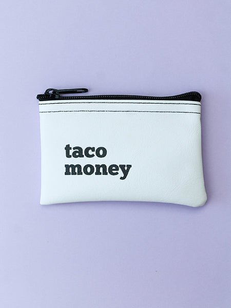 taco money vinyl zip pouch white