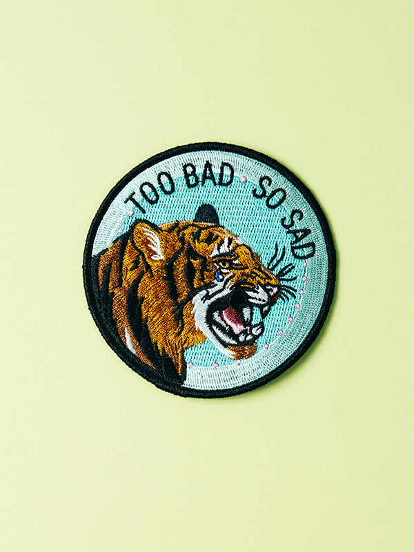 stay home club iron on patch too bad so sad crying tiger