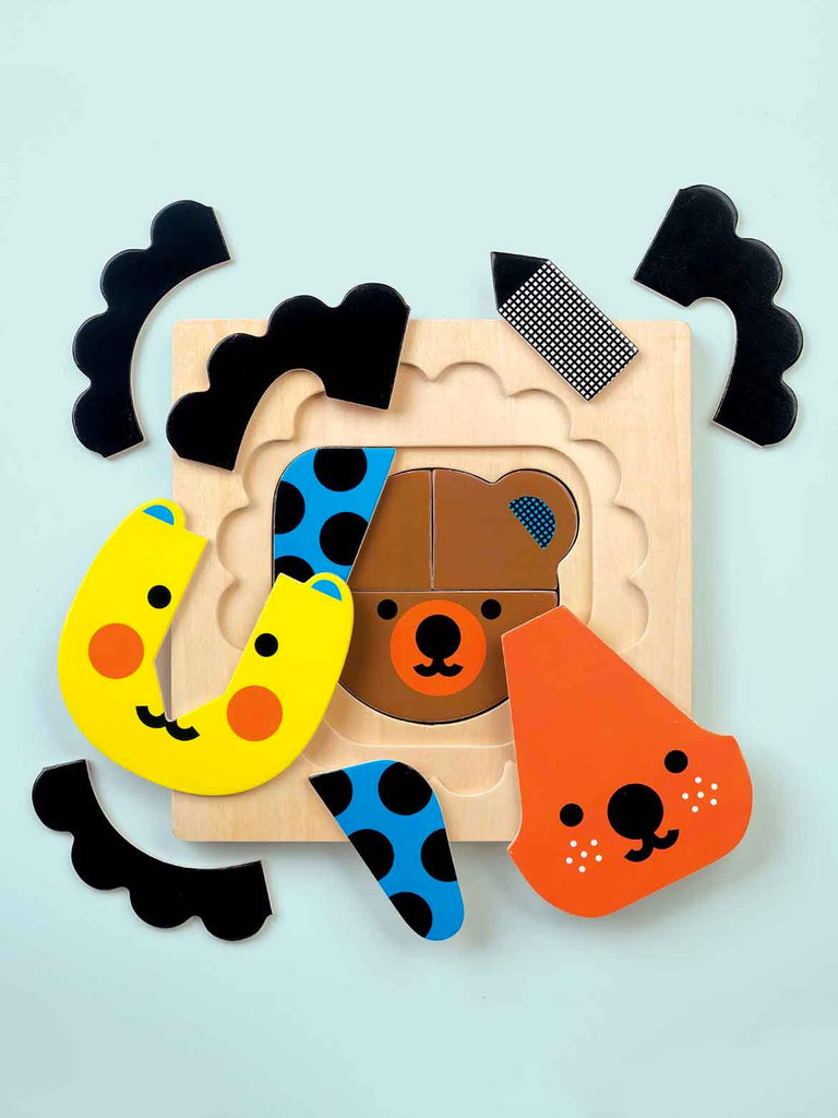 4 Layer Wood Puzzle: Animal Faces