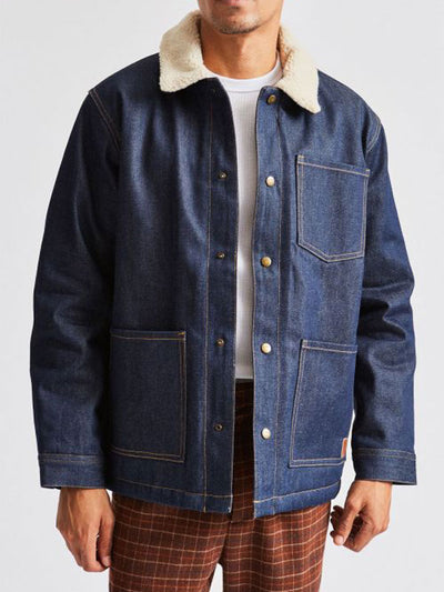 brixton Yard Sherpa Denim Jacket Raw Indigo