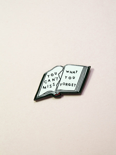 stay home club forget enamel pin book you can't miss what you forget