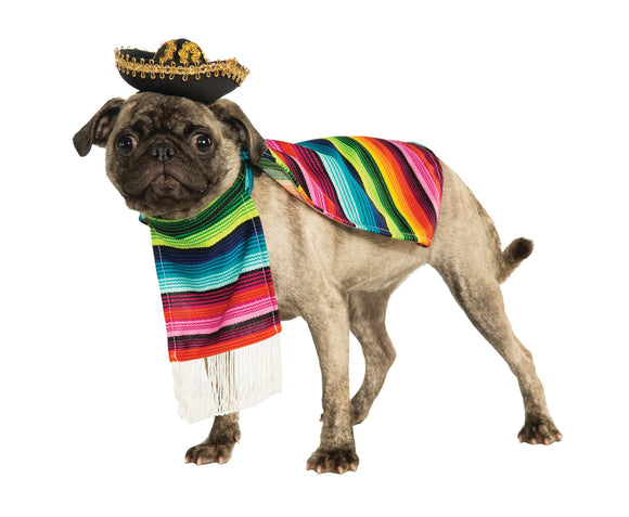 Pet Costume - Mexican Poncho & Sombrero