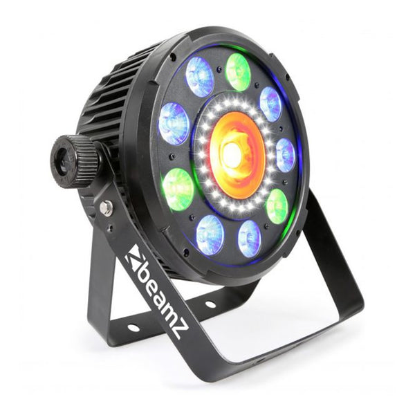 TV Audio Factory Shop - Beamz BX96 PAR 64 WITH COB LED AND STROBE 9x 9W 6-1 RGBAW-UV LEDS