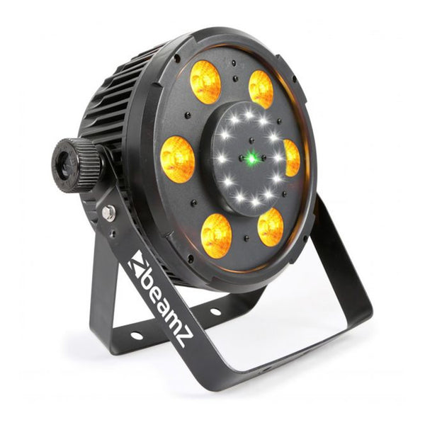 TV Audio Factory Shop - Beamz BX100 PAR 64 WITH COB LED AND STROBE + LASER 6x 6W 4-1 RGBW LEDS