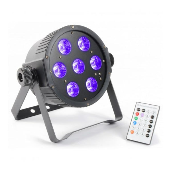 TV Audio Factory Shop - Beamz LED PAR 56 FLATPAR 7x 18W RGBWAUV LED DMX IR