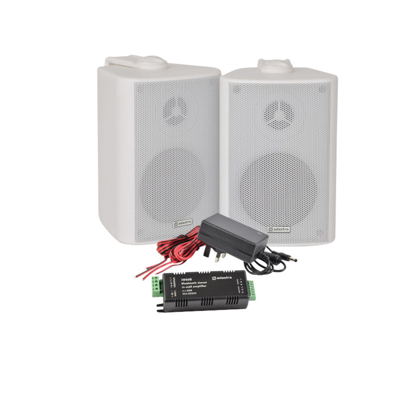 TV Audio Factory Shop - 2x Adastra BC3V-W 100V 3in SPEAKER WHITE *DEMO* *NEW IN WATER DAMAGED BOXES* 1x IW60B IN WALL AMPLIFIER BT *DEMO UNIT, IN BOX, NOISY LINE INPUT* Perfect Installation solution for a background music system in a small room or on a balcony. Connect to the amp via blue tooth.