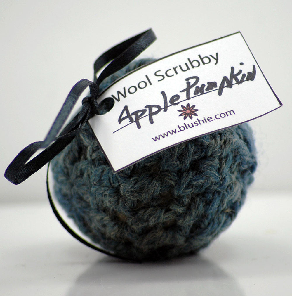 Apple Pumpkin Wool Soap Scrubby in Dark Teal