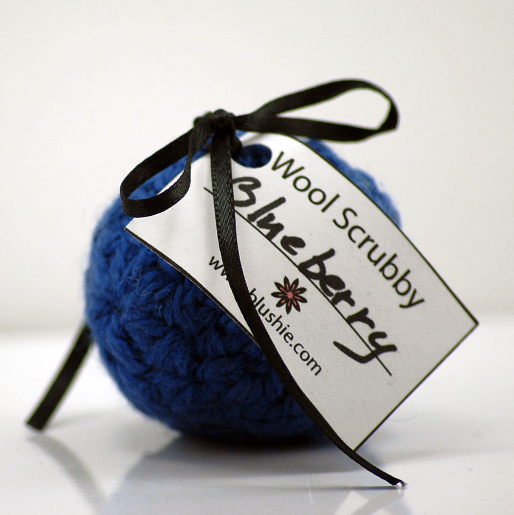 Fresh Blueberry Wool Soap Scrubby in Royal Blue