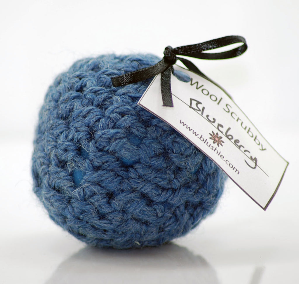 Fresh Blueberry Wool Soap Scrubby in Slate
