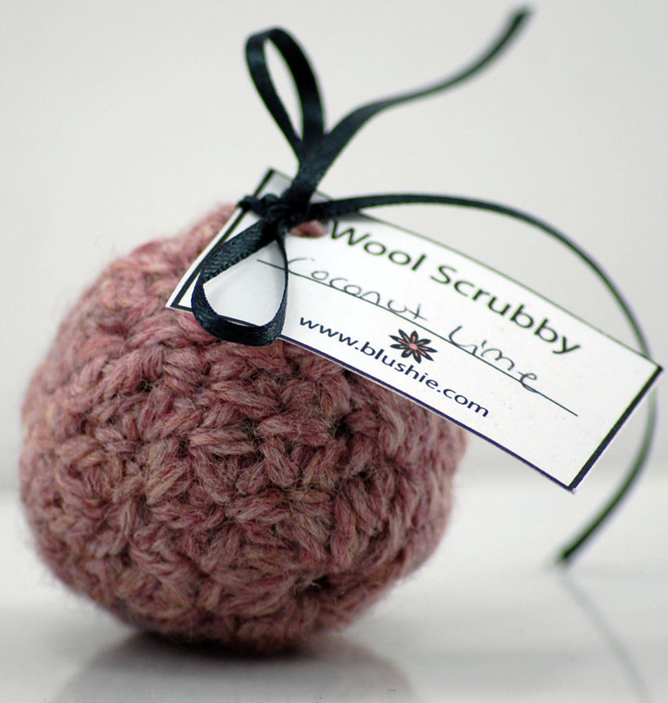 Coconut Lime Wool Soap Scrubby in Pink