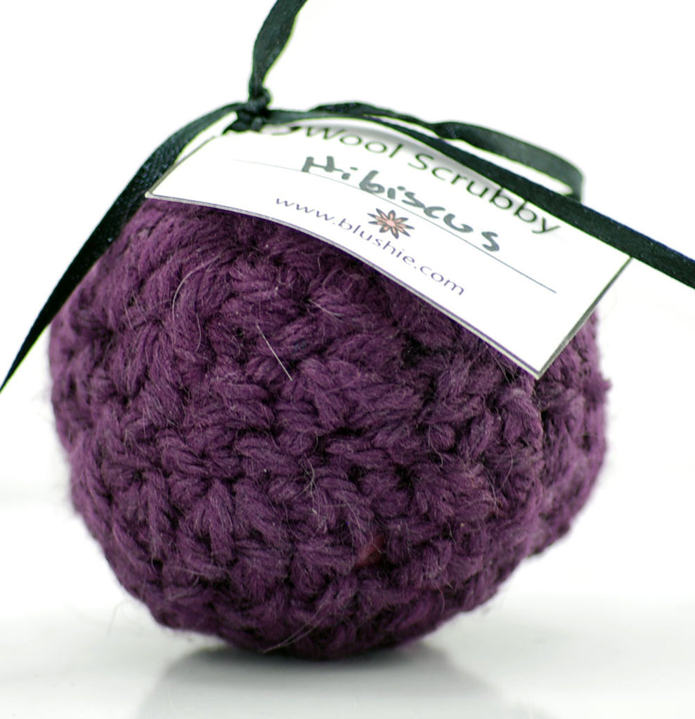 Hibiscus Passion Wool Soap Scrubby in Purple