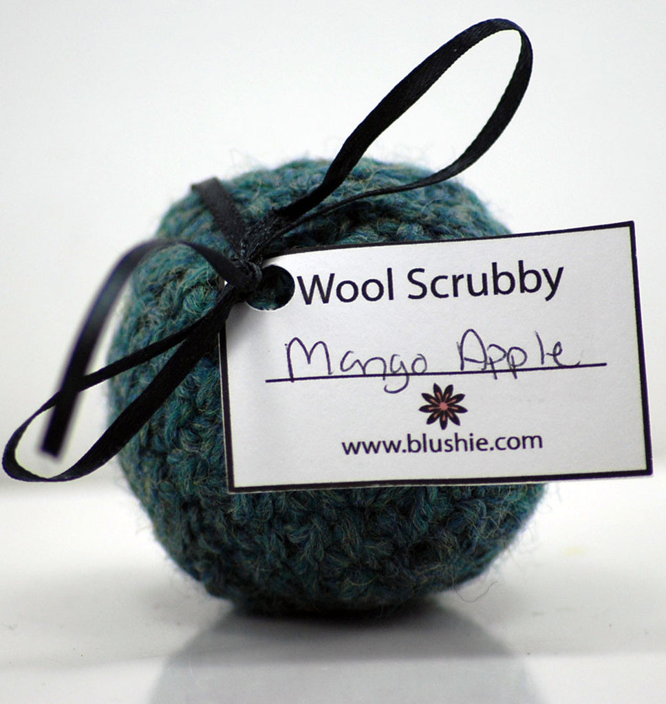 Mango Apple Wool Soap Scrubby in Dark Teal