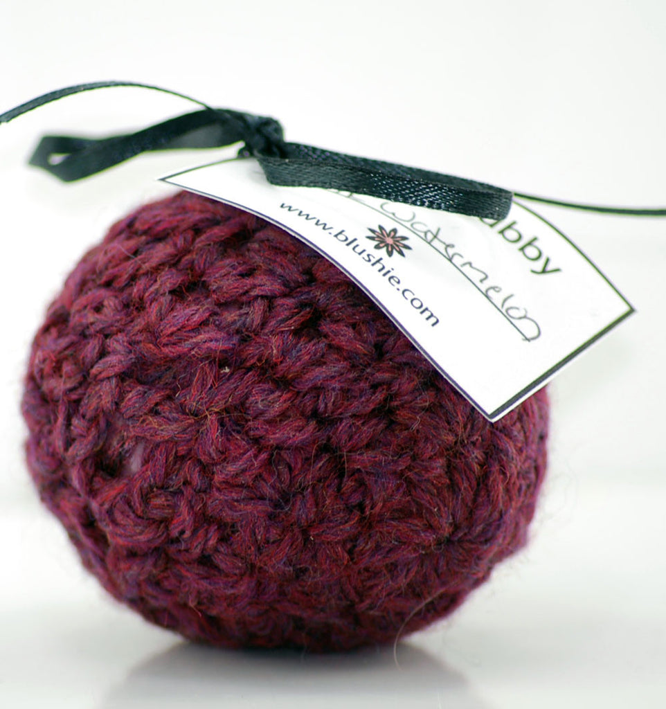 Pink Watermelon Wool Soap Scrubby in Burgundy