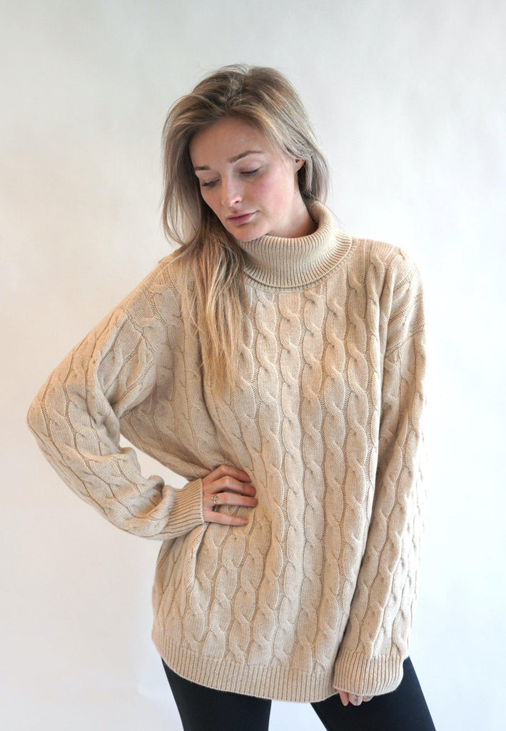 Organic Cashmere Cable Knitwear Sweater-Sweaters & Vests-Atelier Jungles-S/M-Atelier Jungles
