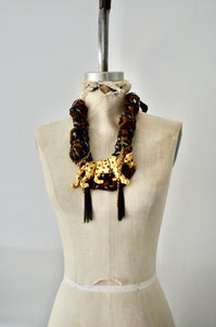 Articulated Leopard Pendant Necklace Scarf Black Acrylic Link Chain and Tassels