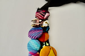 Boho Ethnic Ankara African Multi Strand Colorful Button Necklace