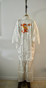 White Dragon Silk Brocade Pajama Set Pants and Kimono Sleepwear Street Wear Chic Style