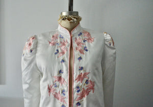 Off White Boho Cropped Puffer Sleeve Quilted Jacket Embroidery Retro Floral