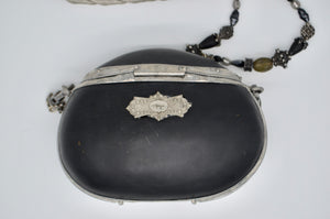 "Vintage 80's ""Maya"" Acrylic ONIX Black Shell Styled Purse Resin Purse with Beaded Strap"
