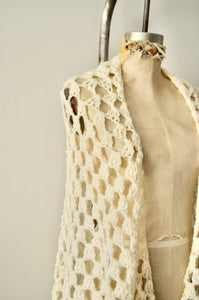 Boho Handmade Crochet White Antique Piano Long Fringe Shawl Cape