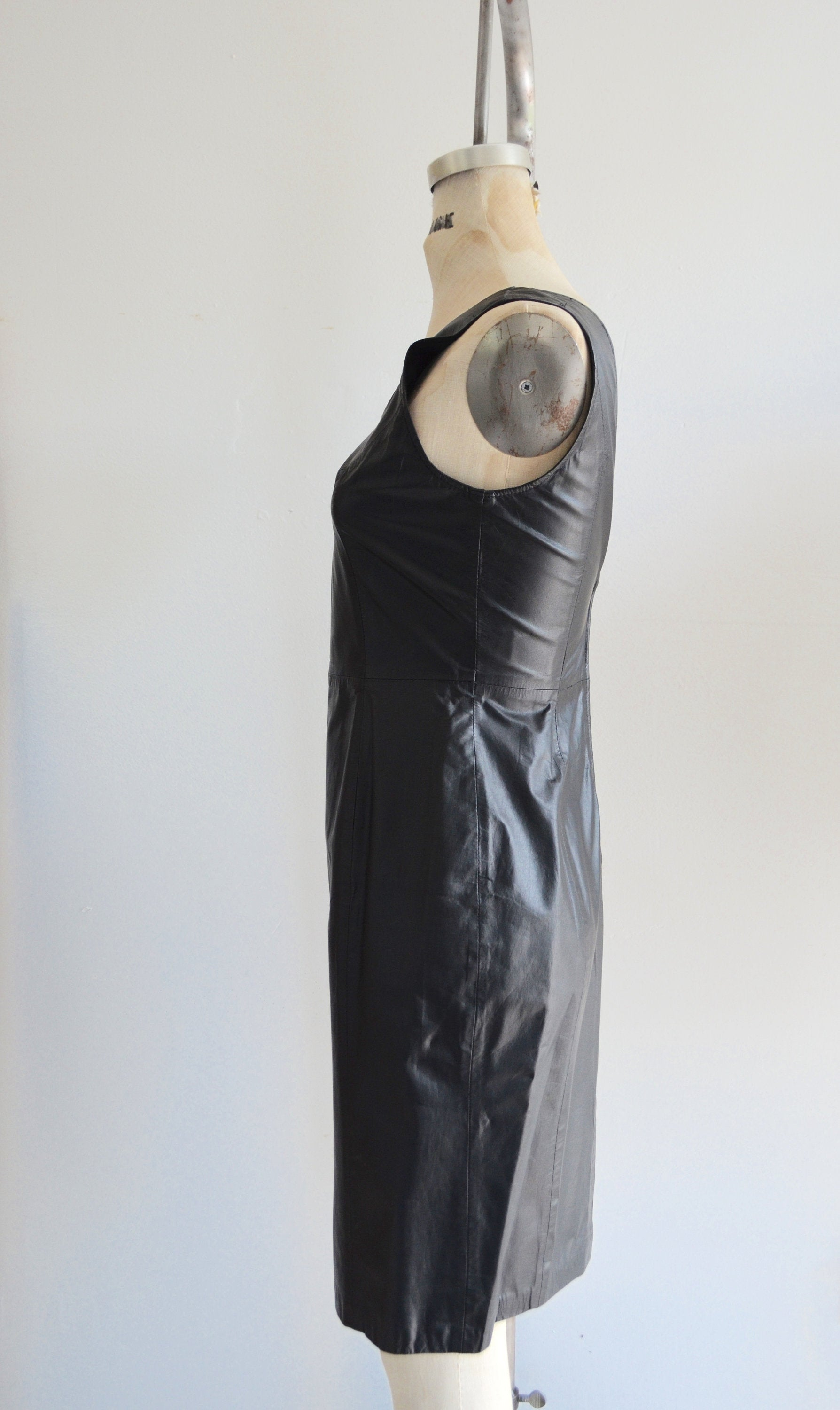 80S Military Leather Sheath Dress Sleeveless Paneled Black Plunging Neckline Rock Secretary Dress