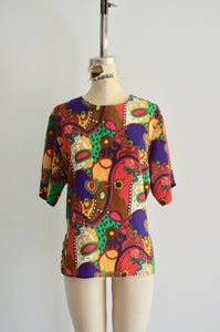 1980S Slouchy Funky Baroque Chain Multicolor Graphic Print Top Blouse Short Sleeves Notations