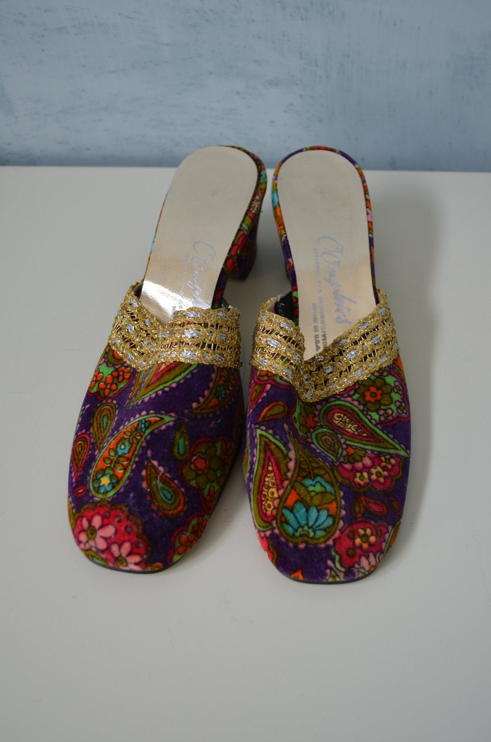 70's Mule Bohemian Oomphies Pasley Colorful Velvet Mule Shoes
