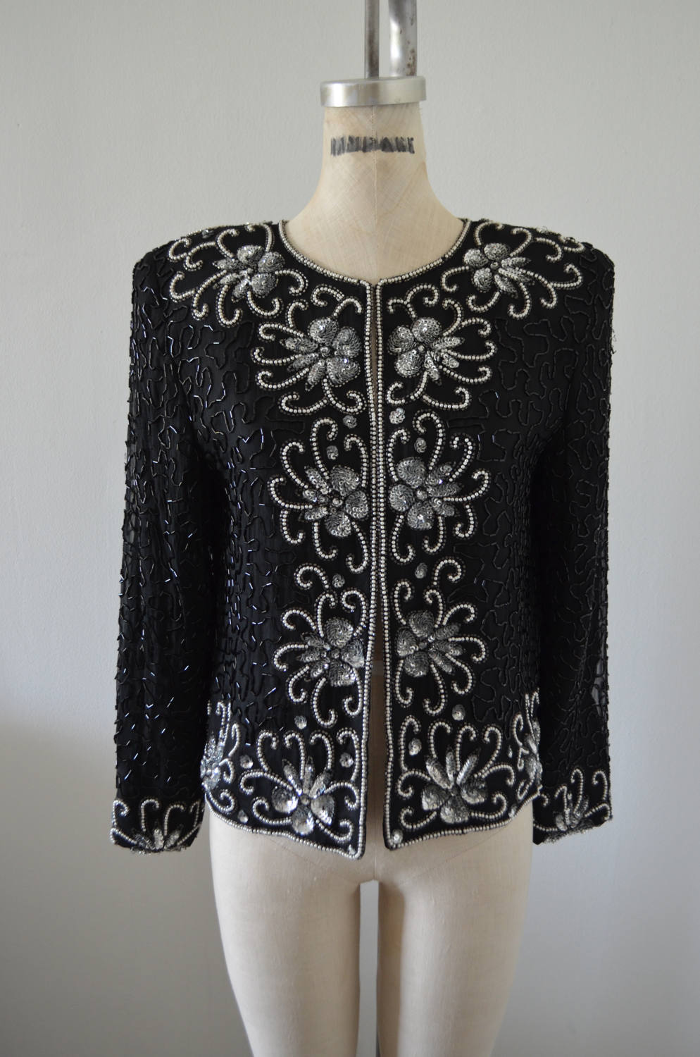 Floral Sequined Beaded Cropped Jacket Floral Cocktail Wedding Nye Party Holiday Glam