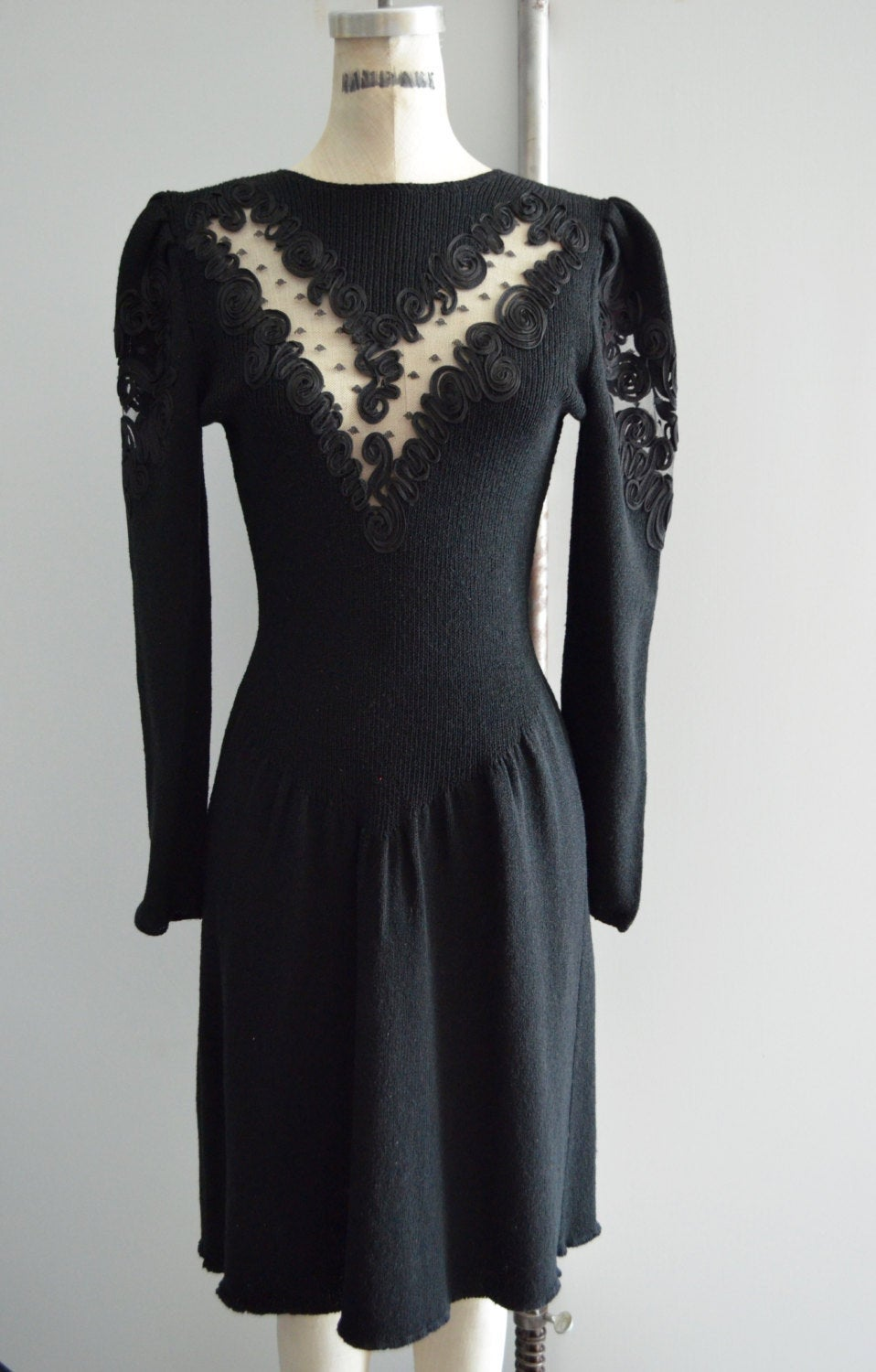 Pat Sandler Wellmore Dress For Saks Fifth Avenue Black Santana Knit Bead Puff Sleeve Dynasty