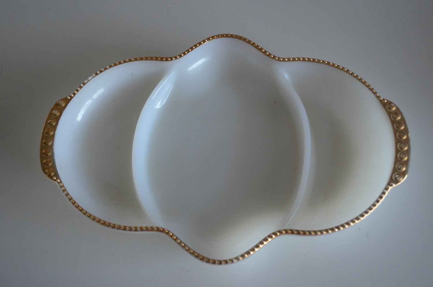 White Milk Anchorglass W Gold Relish Tray Serving Fire King Made