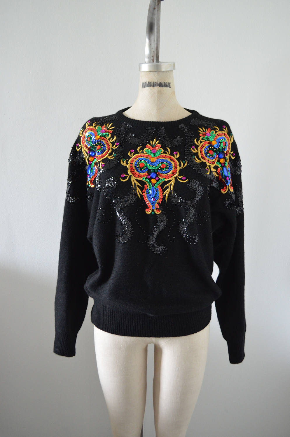 Jewelry Sequined Sweatshirt Blouse Sparkling Embroidery Beaded Black/Colorful Sweatershirt