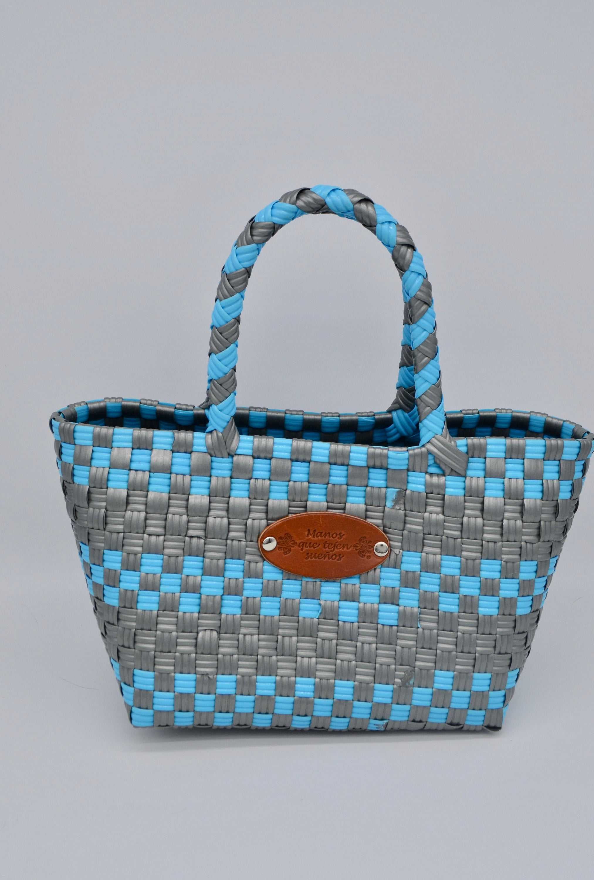 Mini Carry On Manos Que Tejen Suenos Mexican Plastic Woven Bag Weaving Straw Handbag Summer