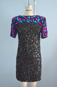 Avant Garde Black Silk Sequins Dress With Shoulder Colorful Details By In Fashion