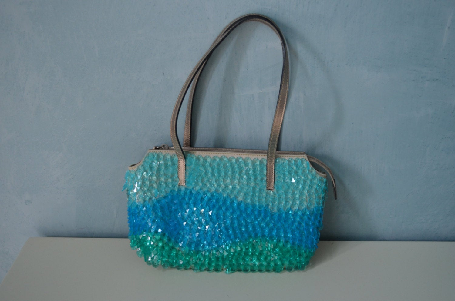 Retro Maison Saad Sequined And Beaded Pweter Leather Purse Bag With Wavy Crystal Drops