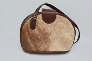 Brown Calf Hair Pony Hair Design Genuine Leather Shoulder Handbag Handmade Bag Argentina Cuero Vaca