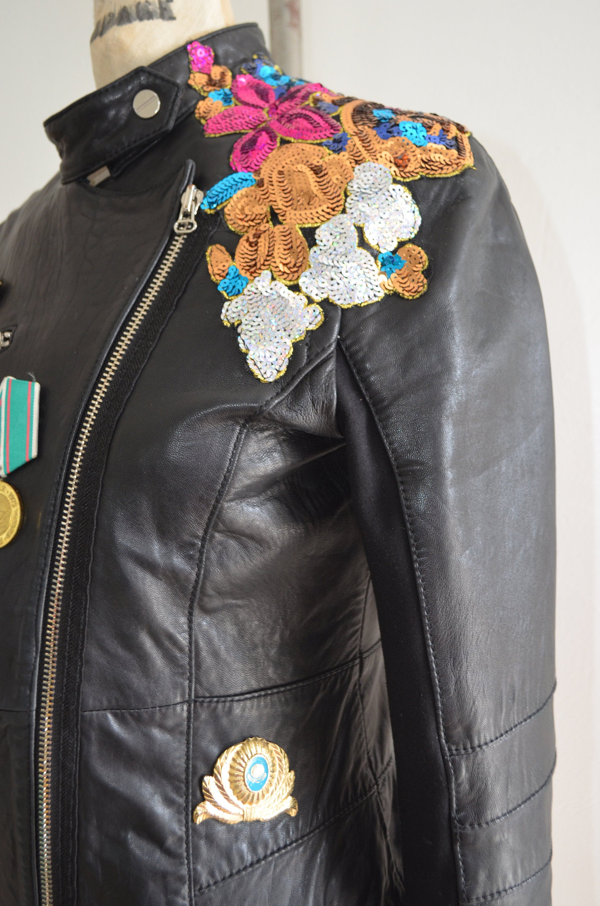 1990S Reworked Leather Moto Bike Jacket Blazer Multicolor Sequined Floral Military Medals