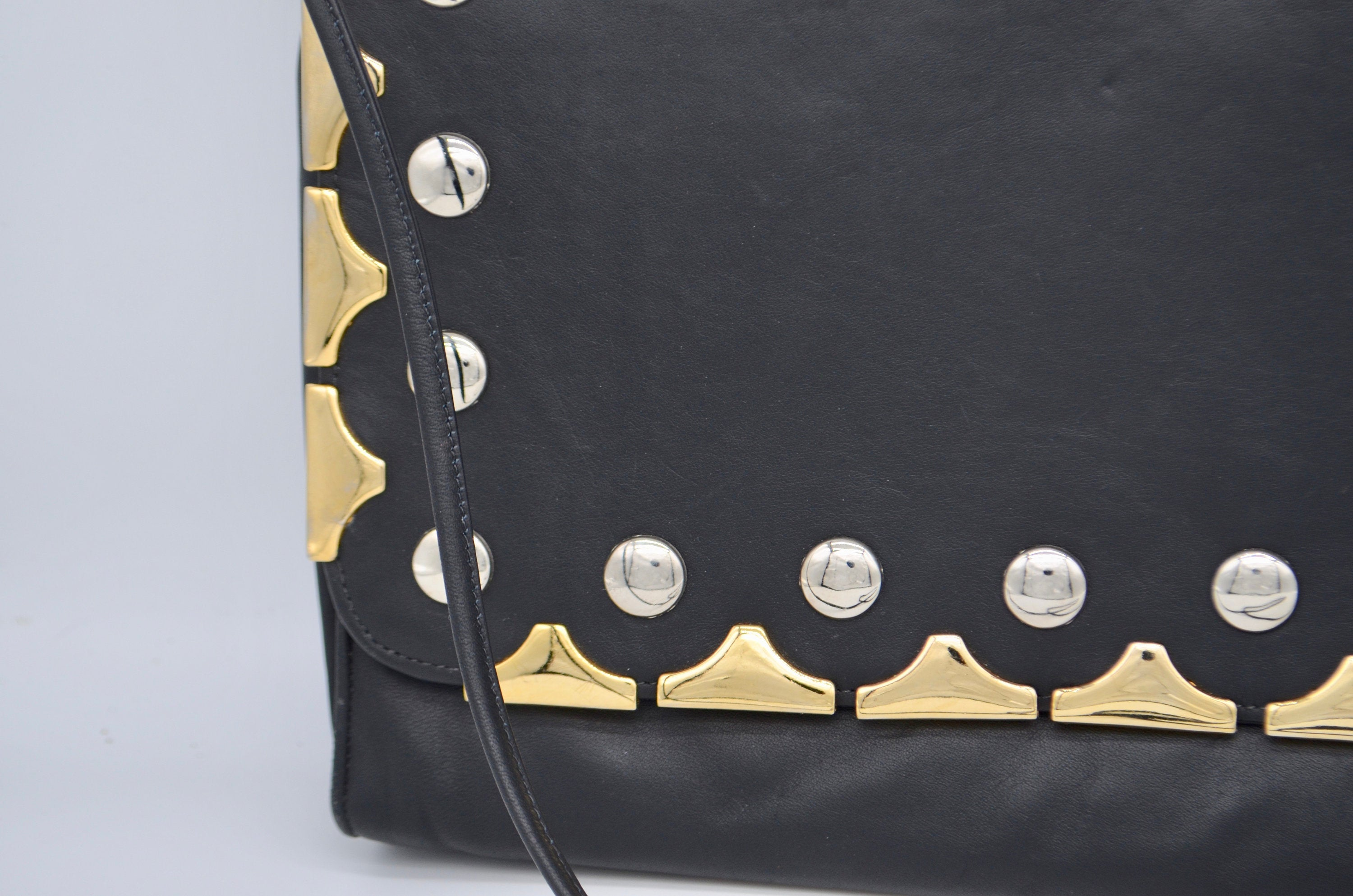 1990 Jenny Tee Black Leather Oversized Clutch Purse Gold & Silver Studs Spaghetti Strap Shoulderbag